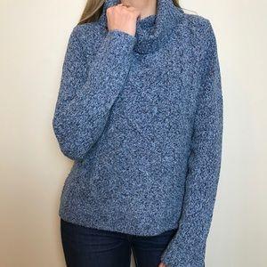 Vintage turtleneck cotton blue knit sweater